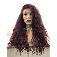 Red Burgundy Waves Human Hair Blend Deep Parting Lace Front Wig - Agnes