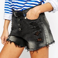Only Distressed Jean Button Up Denim Shorts