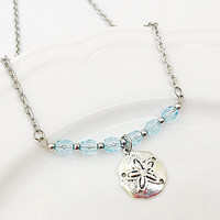 Ocean Jewelry - Beach Themed Necklace - Silver Sand Dollar - Starfish Charm - Aqua Blue - Bar Necklace - Stainless Steel - Sea Jewelry