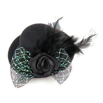 Best Sale Feather Hair Clip Flower Bow Black Mini Top Hat Party Lolita Cosplay Goth