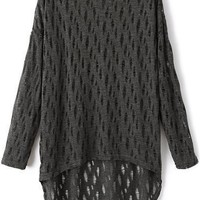 Relaxed Crochet Batwing-Sleeves Sweater - OASAP.com