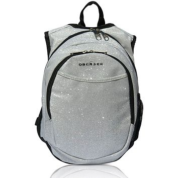O3KCBP031 Obersee Mini Preschool Backpack for Girls with integrated Insulated Snack Cooler   Sparkle Silver Design