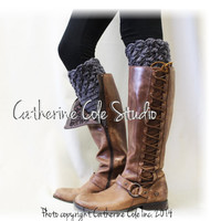 BOOTIE CUTIE in Charcoal Grey  Handmade crochet boot toppers mini leg warmers knit boot hand made cuffs womens Catherine Cole Studio CC0