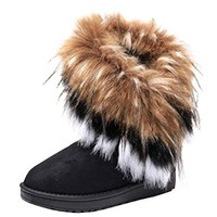 Women's winter warm snow ankle boots knit shoes