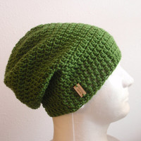Mens Slouchy Beanie Kelly Green - Crochet Slouch Beanie Mens Green Beanie Hipster Hat - Vegan -Green Slouchy Beanie - Fall Apparel - Unisex