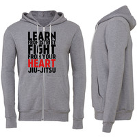 LEARN from the street FIGHT Jiu Jitsu (red) Zipper Hoodie