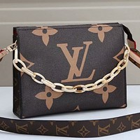 Louis Vuitton classic color matching printing fashion casual ladies small square bag chain handbag shoulder messenger bag