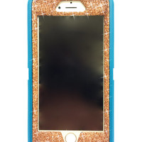 iPhone 6 (4.7 inch) OtterBox Defender Series Case Glitter Cute Sparkly Bling Defender Series Custom Case  teal / sunstone