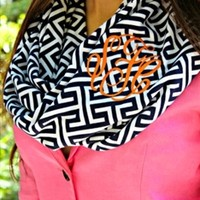 Monogram Greek Key Infinity Scarf - Navy