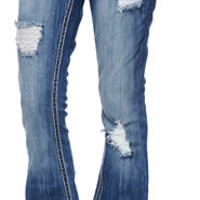 Almost Famous Adela Medium Wash Destroyed Bootcut Jeans