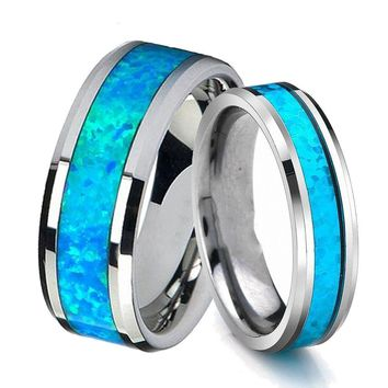Queenwish 6mm/ 8mm Vintage Opal Tungsten Carbide Rings Infinity Mens Wedding Bands Silver Women Engagement Jewellery Rings