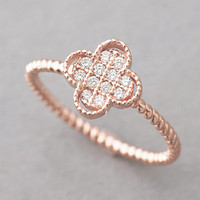 ROSE GOLD CLOVER RING 4 LEAF CLOVER RING STERLING SILVER CLOVER JEWELRY from Kellinsilver.com