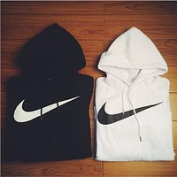 Nike Solid Color Simple Pullover Hooded Long Sleeve Sweatshirt