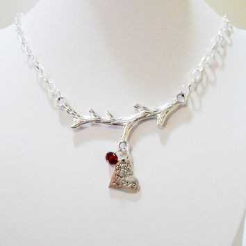 Silver Branch Heart Necklace -Birth Stone,Mother Gift,Family Necklace, Christmas Gift,Choose your color.