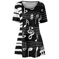 Plus Size Music Note Printed Short Sleeve Women Top 7183