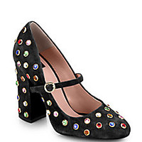Boutique Moschino - Jewel-Embellished Mary Jane Pumps - Saks Fifth Avenue Mobile