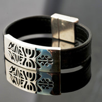 HONU WIDE-Modern Tribal Bracelet-Unisex Lucky Bracelet-Sterling Silver,leather-Gifts for Him-Gifts for Her
