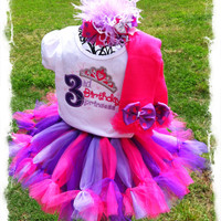 Girls Birthday Princess TuTu Set-Purple and Pink TuTu Skirt with Princess Shirt, M2M Leg Warmers and OTT Hair Bow