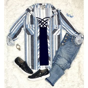 Took Me By Surprise Stripe Top - Blue