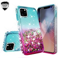 Apple iPhone 11 Pro Max Case Liquid Glitter Phone Case Waterfall Floating Quicksand Bling Sparkle Cute Protective Girls Women Cover for iPhone 11 Pro Max W/Temper Glass -  (Pink/Teal Gradient)