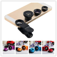 Plastic Universal camera Clip Mobile Phone Lens Fish Eye + Macro + Wide Angle for iphone Samsung S4 5 6 note2 3 4 HTC Smartphone