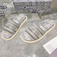 Christian Dior hot sale pattern embroidery letters ladies casual sandals beach slippers Shoes