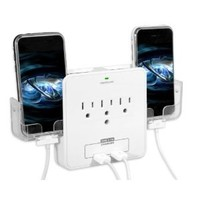 Amazon.com: RND Power Solutions Wall Power Station includes 3 AC Plugs and 2 USB ports with Surge Protection. Also includes 2 slide-out holders for your Smartphone: Electronics