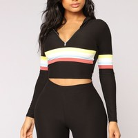 Soni Stripe Lounge Set - Black