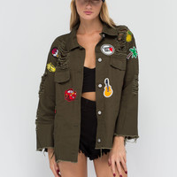 Hold A Grunge Distressed Patch Jacket GoJane.com
