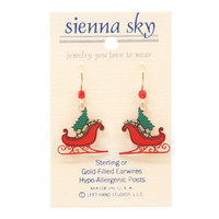 Sienna Sky Red Christmas Sleigh With Tree & Gifts Earrings