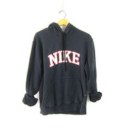 Faded Black Nike Hooded Sweatshirt Athletic Pullover Nike Hoodie Sweater Slouchy Sports Sporty Prep Workout Top Distressed Size Large
