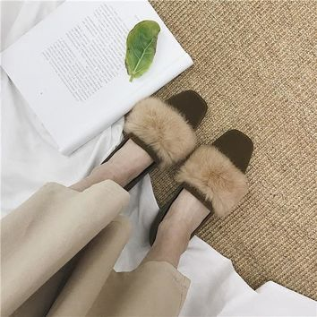 Fin Flats with Rabbit Fur Trim 4 Colors
