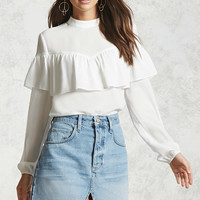 Semi-Sheer Ruffle Top