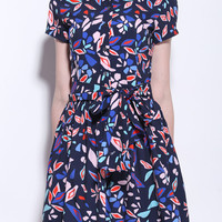 Colorful Print Cap Sleeve Dress