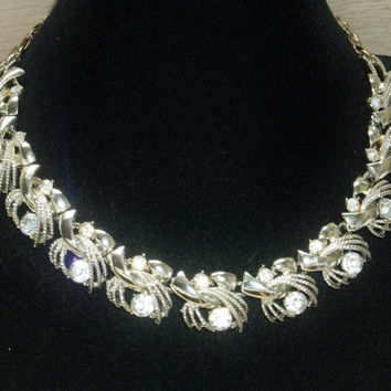 Vintage Necklace Coro Sterling Clear Rhinestones Wedding Jewellry Bridal Party Jewelry Special Occasion Gift for Her Birthday Christmas