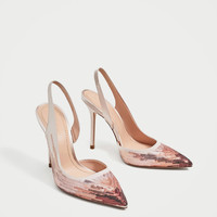 SEQUINNED HIGH HEEL SLINGBACK SHOES DETAILS