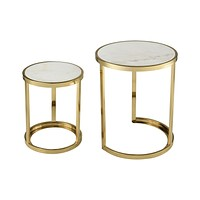 Trimalchio Gold Plated and White Metal and Marble Accent Tables (Set of 2)