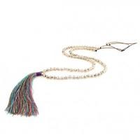 Long Rainbow and Silver Toned Tie Tassel Necklace