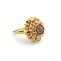 Vintage Gold Tone Faux Topaz Ring - Signed Avon