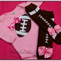 Girls Pink Football Bodysuit and Leg Warmer Set With Bow Baby Legs Personalized Appliqued Baby Toddler