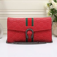 """Gucci"" Women Retro Fashion Multicolor Embossed Metal Chain Single Shoulder Messenger Bag Small Square Bag"