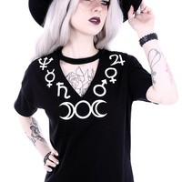 Skelapparel - Witchcraft symbols V-neck with choker Black Fashion Tee - Goddess