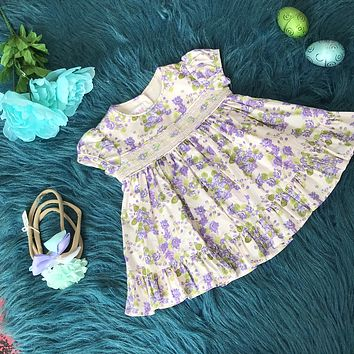 Bonnie Baby Pink & Lavender Embroidered Dress