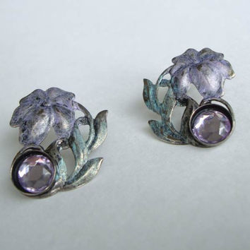 Palm Tree Earrings Light Purple Faux Rhinestones Vintage Jewelry
