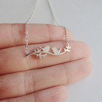 Love Bird on a Branch Friendship and Relationship Necklace - Gold & Silver