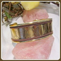 """Spiritual Energy"" Triple Moon Copper & Brass Bracelet"
