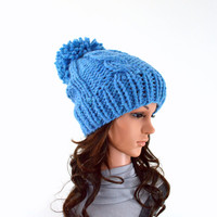 Chunky Knit Cable Slouchy Hat Beanie Toque with Large Pom Pom // The Duchess // in Sky Blue