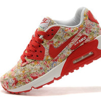 Red Floral Nike Air Max 90 Running Shoes