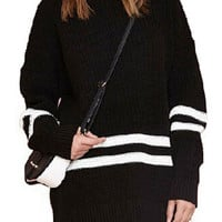 Black Stripes Long Sleeve Knit Jumper