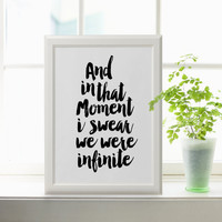 BOOK ART And in that moment i swear we were infinite inspirational words gift for her perks of being a wallflower we are infinite best words